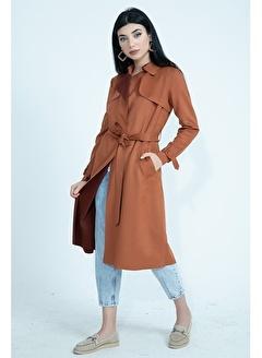Vpr Moda Süet Uzun Ceket Kemerli Trençkot